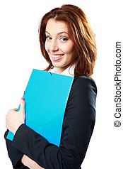 Happy businesswoman holding notebook isolated on white...