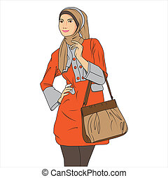 Moslem Woman Shopping - vector safety sign by syaiful anwar
