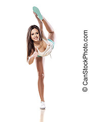 flexible young woman - flexible smiling girl showing thumbs...