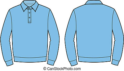 Polo jumper - Vector illustration of mens polo jumper Front...