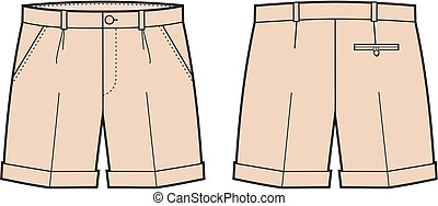 Shorts - Vector illustration of men's classic shorts. Front...