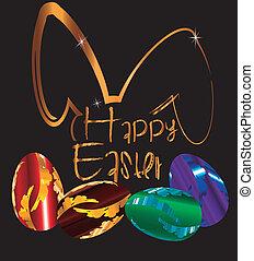 dorado, Pascua, conejito, matel, huevo