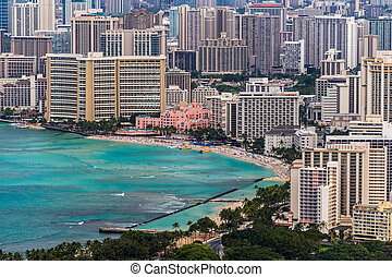 Waikiki Beach and Town - Waikiki Beach with buildings and...
