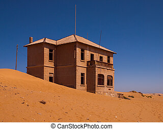 fantasma, casa,  Kolmanskop, abandonado, aldea