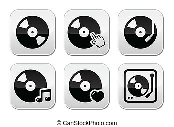 Vinyl record, dj vector buttons set - Vector icons set of...