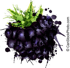 Blackberry made of colorful splashes on white background