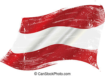 Austrian grunge flag - flag of Austria in the wind with a...