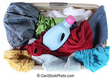 lavadero, cesta, Lleno, sucio, ropa, cima, vista