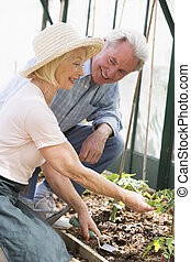 Woman in greenhouse planting seeds and man holding watering can