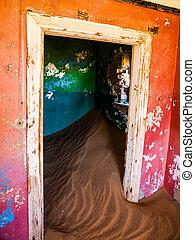 fantasma, pueblo, abandonado, casa,  Kolmanskop, arena
