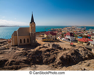 Luderitz general view with church in southern Namibia