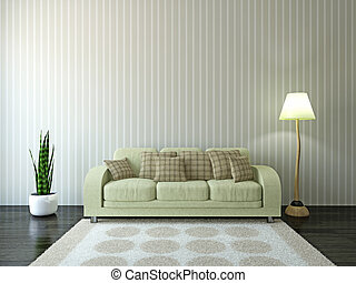 Sofa with cushions near the wall