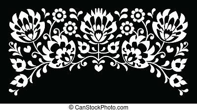 Polish floral folk white embroidery - Traditional vector...