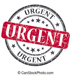 Urgent red grunge round stamp on white background