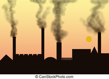 air pollution - illustration, air pollution by smoke coming...