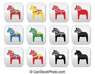 Swedish Dalecarlian, Dala horse vec - Symbol of Scandinavia...
