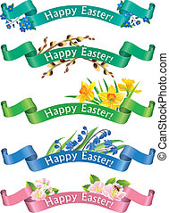 Happy Easter banners. Contains transparent objects. EPS10