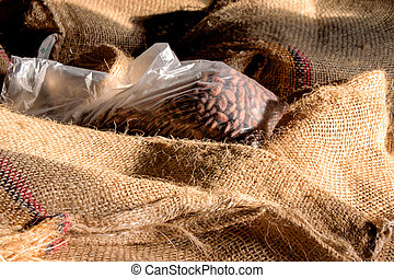 cacao-beans in bags