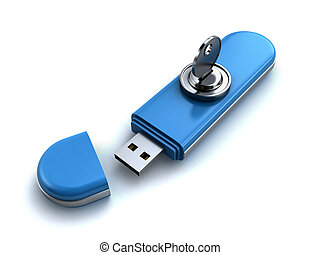 Locked usb flash - Usb flash memory locked with a key 3d...