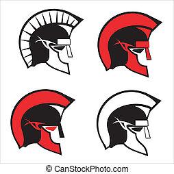 warrior heads - ancient elegant roman warrior heads. side...