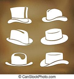 Classic men hat silhouettes - Graphic classic men hat...
