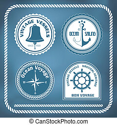 Nautical symbols - compass, anchor, ship bell