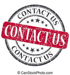 Contact Us red grunge round stamp on white background