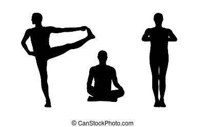 man practicing yoga silhouettes set 2 - young man practicing...