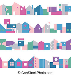 colorful houses pattern - pink blue green and purple houses...