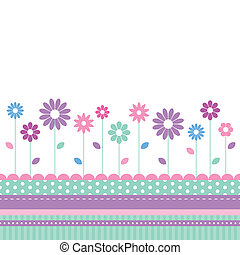 flowery meadow greeting card - purple violet blue and green...