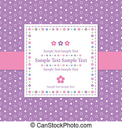 violet polka dot greeting card - flowery sample text...