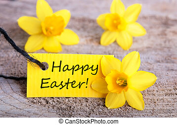 Label with Happy Easter with Narcisses, yellow Easter...