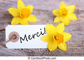 Tag with Merci - Tag with the French word Merci which means...