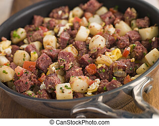 Corned Beef Hash in a Frying Pan