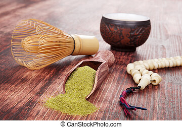 Tea ceremony. - Traditional tea ceremony. Powdered green tea...