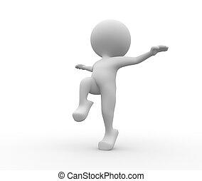 Equilibrium - 3d people - man, person in equilibrium