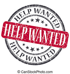 Help Wanted red grunge round stamp on white background