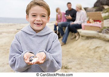 Family at beach with picnic smiling focus on boy with...