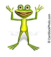 green frog - 3d illustration merry green frog with big eyes