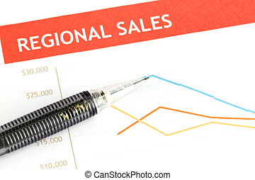 Mechanical pencil point to dot on Regional sales graph. -...