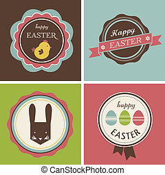 Happy Hipster Easter - set of icons and elements