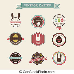 Happy Hipster Easter - set of icons and elements - Happy...