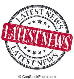 Latest News red grunge round stamp on white background
