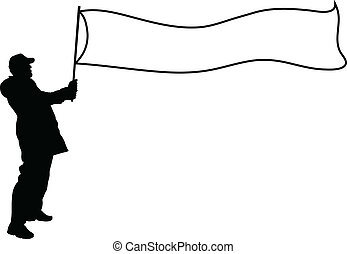 Banner Flag Silhouette - A man hold a silhouette banner,...