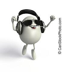 Happy Egg with headphone