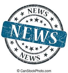 News blue grunge round stamp on white background