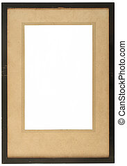 An old wooden photo frame with yellowing card.