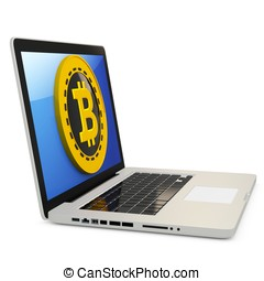 3d bitcoin with laptop computer