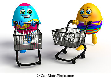 Happy Easter Egg with trolley