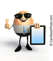 Happy Egg with ipad - 3d rendered illustration of Happy Egg...
